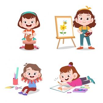 Les enfants avec leurs loisirs