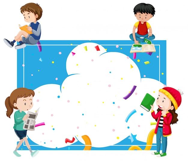 Enfants lisant autour d'un cadre bleu
