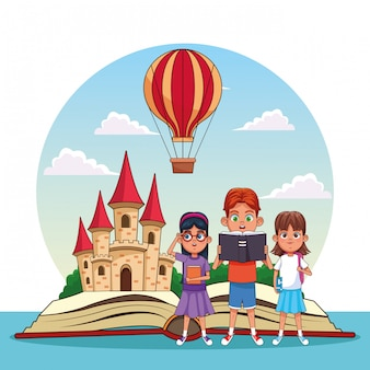 Enfants lisant des contes de fées