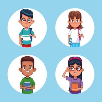 Enfants lisant des dessins animés