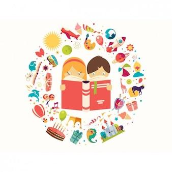 Enfants lisant un fond de livres
