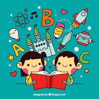 Enfants lisant des histoires merveilleuses dans le style linéaire