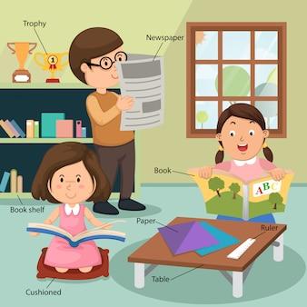 Enfants lisant le livre à la maison avec index de vocabulaire associé