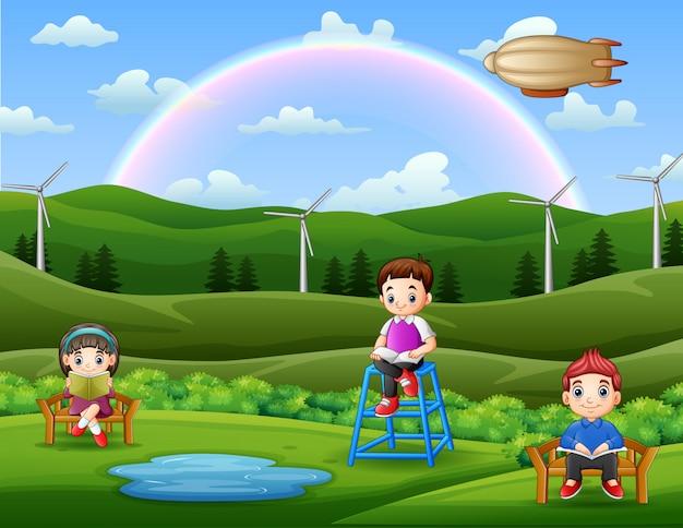 Enfants lisant des livres dans l'illustration du jardin