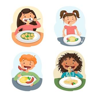 Les enfants mangent de la nourriture. beaux enfants bénéficiant d'un déjeuner sain à la cafétéria.