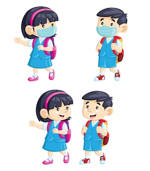 Enfants mignons de bande dessinée allant à l'école portant des masques