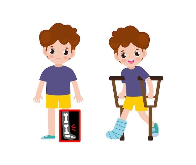 Enfants mignons de bande dessinée avec la jambe cassée sur la radiographie et en convalescence avec plâtre et béquilles traitement des fractures osseuses