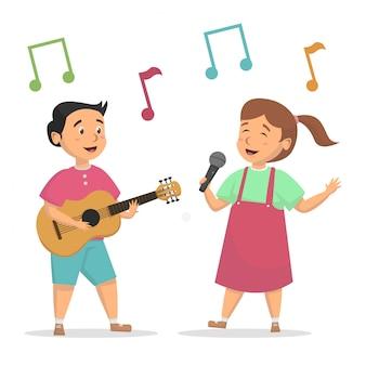 Enfants mignons chantent et jouent illustration vectorielle de guitare concept