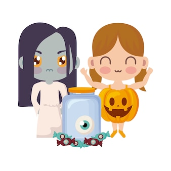 Enfants mignons déguisés à halloween