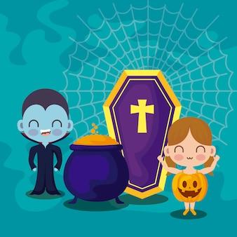 Enfants mignons déguisés avec des icônes halloween