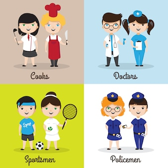 Enfants mignons de dessin animé dans différentes professions