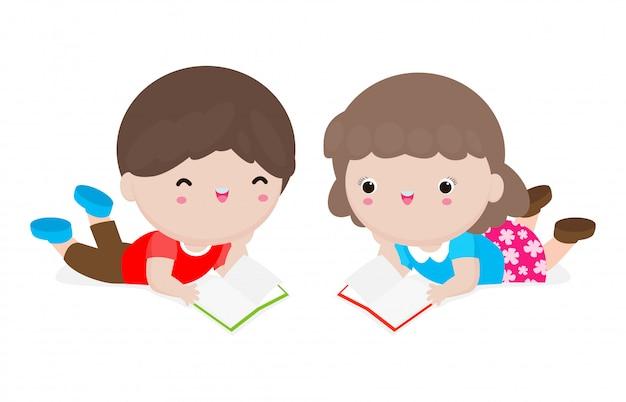 Enfants mignons lecture livre, garçon et fille avec des livres, des enfants heureux lors de la lecture de livres, concept de l'éducation illustration sur fond blanc.