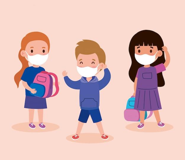 Enfants mignons portant un masque médical pour éviter les coronavirus covid 19