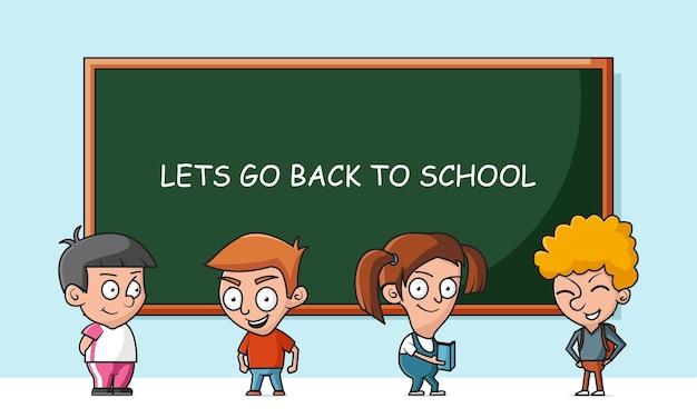 Enfants mignons retour à l'illustration d'icône de vecteur de dessin animé d'école. retour à l'école icône concept vecteur isolé. style de dessin animé plat