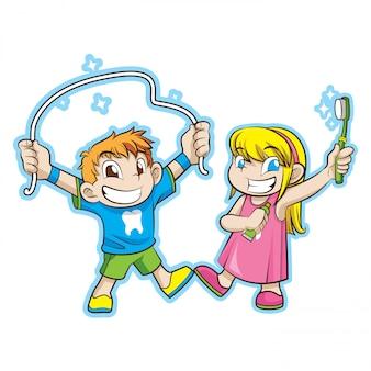 Enfants mignons avec des soins dentaires