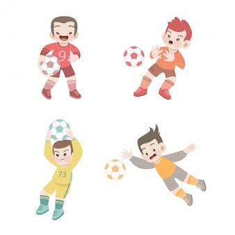 Enfants mignons sport football illustration ensemble