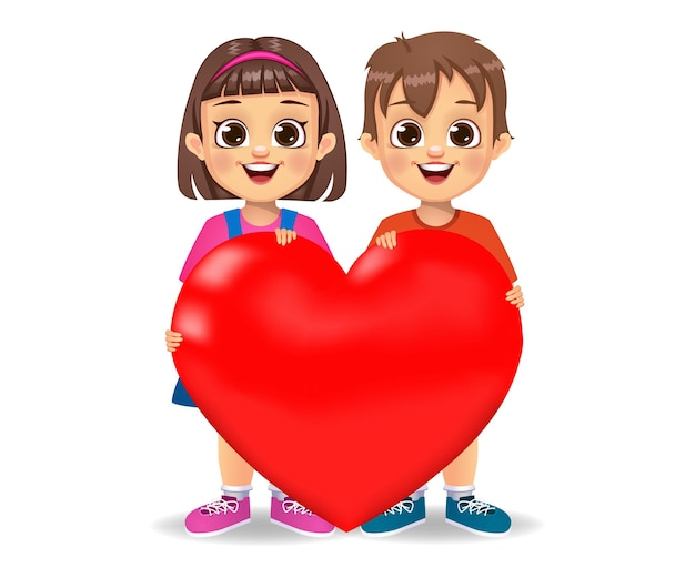 Enfants mignons tenant le symbole du coeur