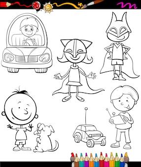 Enfants mis dessin animé page à colorier