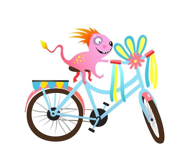 Enfants monstre à vélo, parade décorée ou clipart festival. caractère de créature cycliste excentrique et vélo décoré.