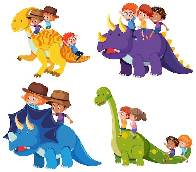 Les enfants montent un dinosaure sur fond blanc