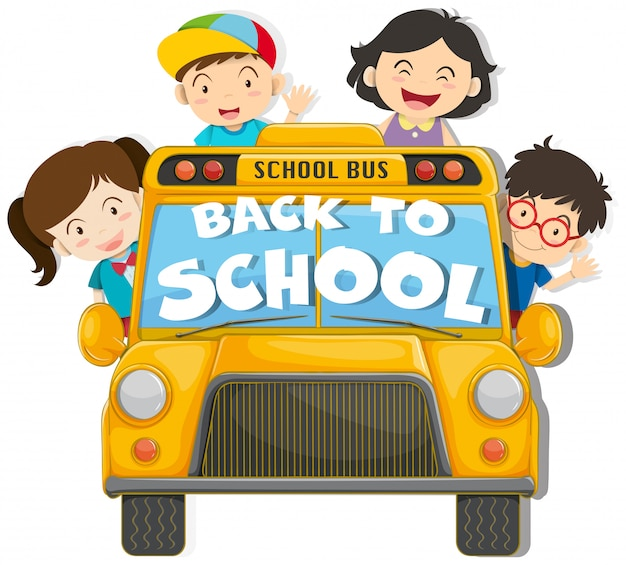 Enfants montés dans l'autobus scolaire