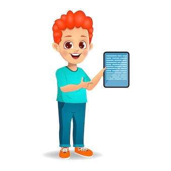 Enfants montrant l'index au téléphone portable vide