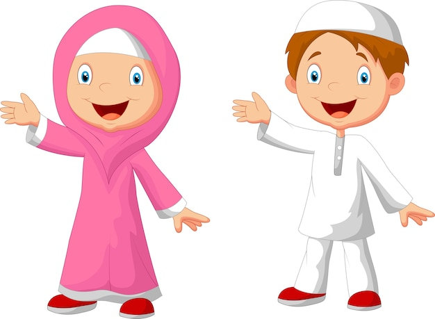 Enfants musulmans de dessin animé heureux