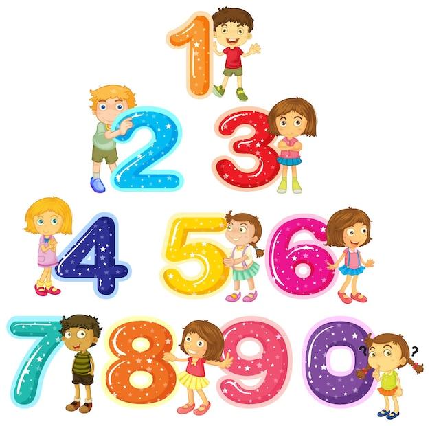 Enfants et nombres un à zéro