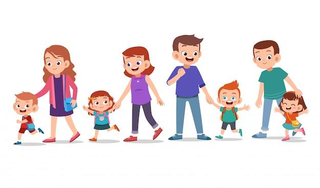 Enfants avec paquet parent