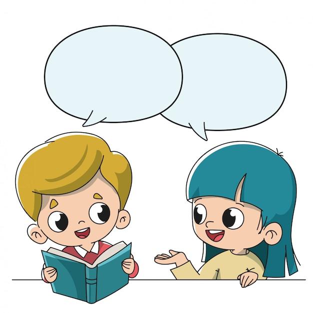 Enfants parlant à l'école