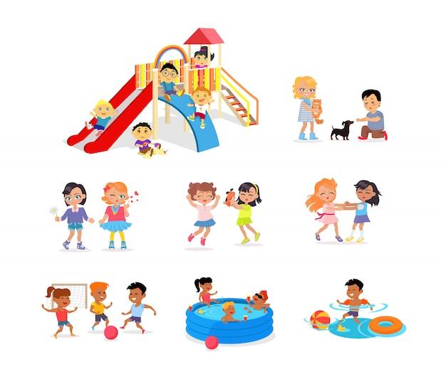 Les enfants passent du temps sur un terrain de jeu coloré