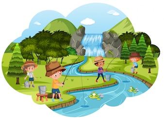 Enfants pêchant à la rivière