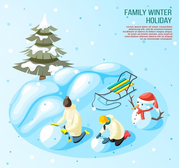 Enfants pendant le jeu en boule de neige à l'extérieur en vacances d'hiver composition isométrique sur bleu