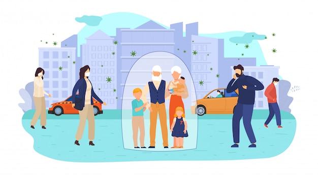 Enfants et personnes âgées à risque d'illustration d'infection par le virus. protégez les personnages à haut risque de groupe, couple de personnes âgées.
