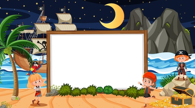 Enfants pirates sur la scène nocturne de la plage avec un modèle de bannière vide