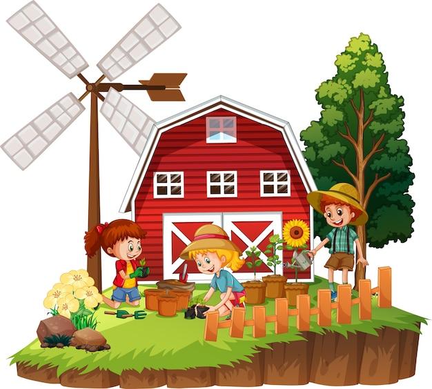 Enfants plantant des fleurs avec une grange rouge dans le thème de la ferme