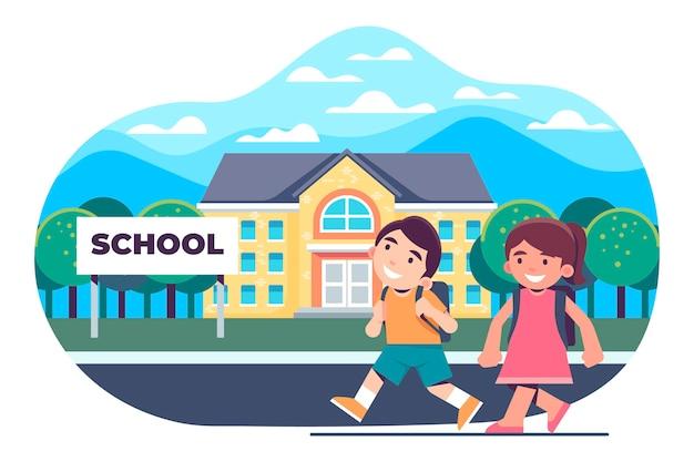 Enfants plats au concept de l'école