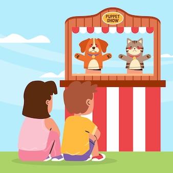 Enfants plats organiques regardant un spectacle de marionnettes illustré