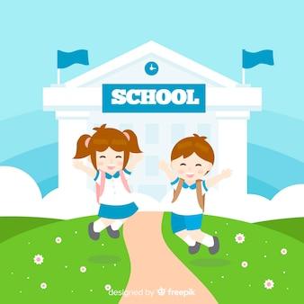 Enfants plats retour au fond de l'école