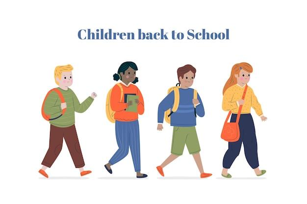 Enfants plats retournent à l'école