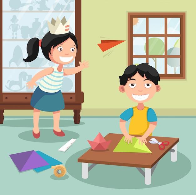 Enfants pliant le papier