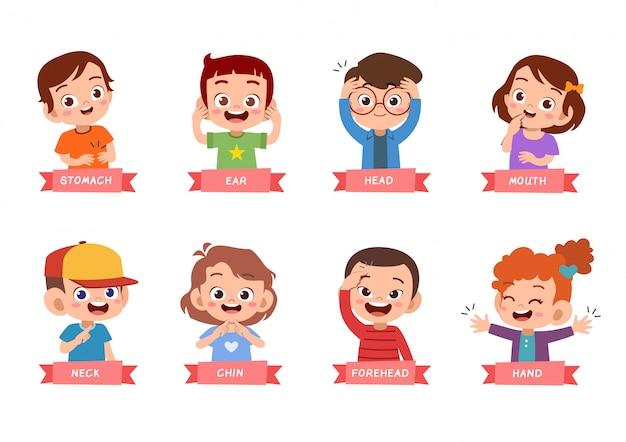 Enfants pointant ensemble de partie du corps