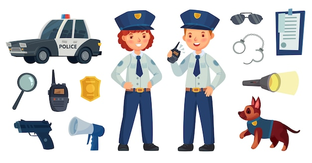 Enfants de police de dessin animé.
