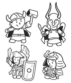 Enfants portant le costume de guerrier