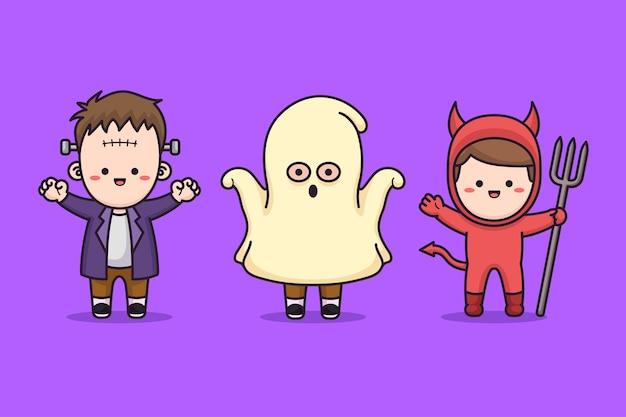 Enfants portant un costume d'halloween