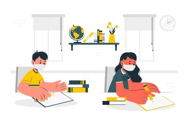 Enfants portant des masques à l & # 39; illustration de concept d & # 39; école