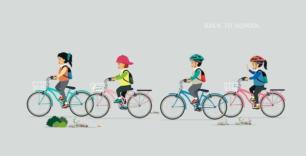 Enfants portant un sac de vélo avec un fond gris