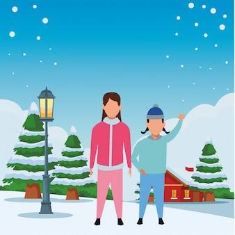 Enfants portant des vêtements d'hiver