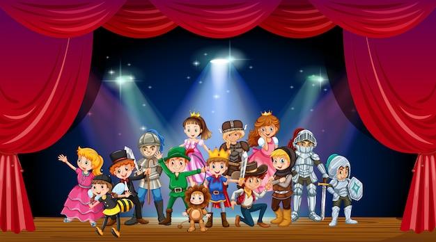 Enfants, porter, déguisement, étape, illustration