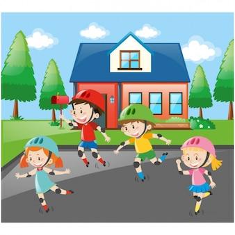 Enfants pratiquant rollerskate fond